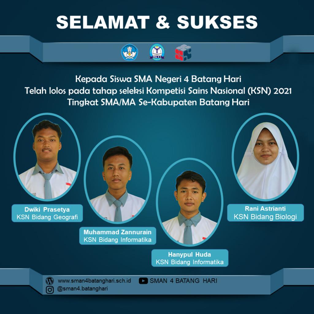 Kiprah Siswa SMAN 4 Batang Hari di KSN-K 2021
